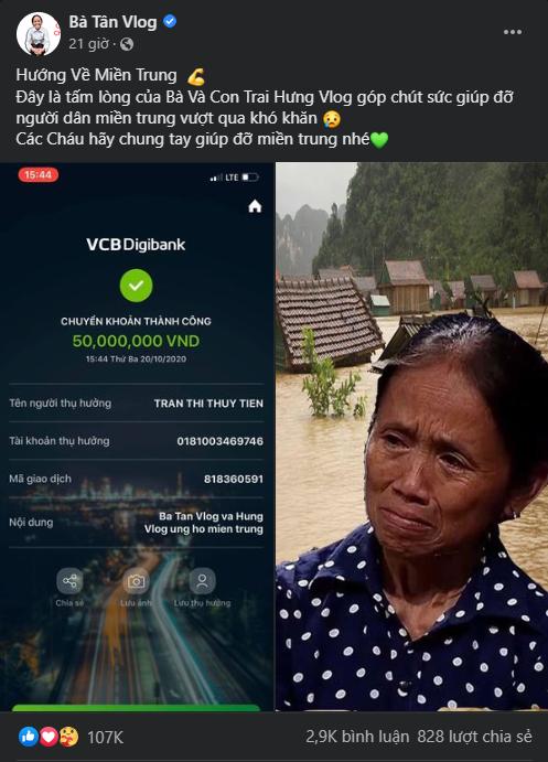 Mẹ con bà Tân Vlog ủng hộ miền trung 50 triệu VND, cộng đồng mạng khen ngợi vì nghĩa cử cao đẹp - Ảnh 1.