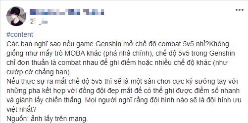 Mong muốn Genshin Impact có chế độ PVP 5vs5, nam game thủ nhận mưa chỉ trích từ CĐM Thế thì để tiền đè chết người à - Ảnh 2.