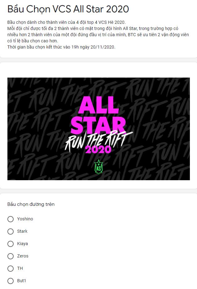 Cổng bình chọn All-Star 2020 được khảo sát bằng... Google form