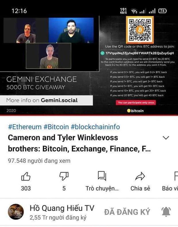 Kênh Youtube 4,5 triệu người đăng ký của MC Trấn Thành bị hack, phát trực tiếp video lừa đảo - Ảnh 2.