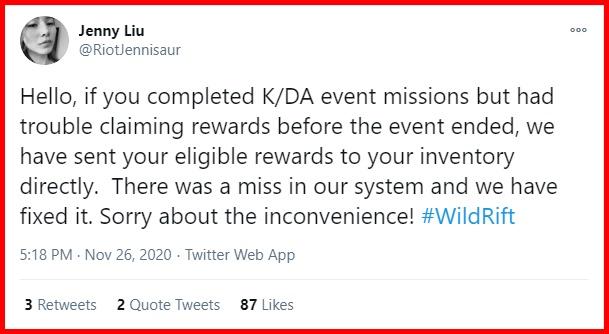 Sự kiện K / DA gặp sự cố trao thưởng là có thật.