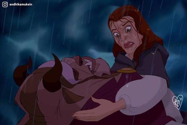 Một cơn mưa đi qua để lại dàn công chúa Disney trôi sạch bách lớp trang điểm, cười muốn nội thương với mặt mộc của Lọ Lem! - Ảnh 4.