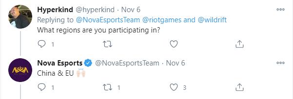 Tổ chức Nova Esports chia sẻ rằng team Liên Minh: Tốc Chiến của họ sẽ thi đấu ở Trung Quốc và Châu Âu