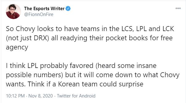 Phóng viên ESPN: Chovy nhiều khả năng sẽ tới LPL vào mùa giải 2021 với giá trị hợp đồng khổng lồ - Ảnh 2.
