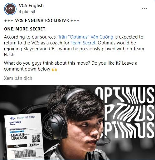 VCS English đưa tin: Optimus sắp trở lại VCS một lần nữa dưới cương vị HLV Team Secret? - Ảnh 1.