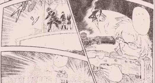 Hình ảnh trong chap mới nhất Gin ném lựu đạn và Akai ngắm bắn.