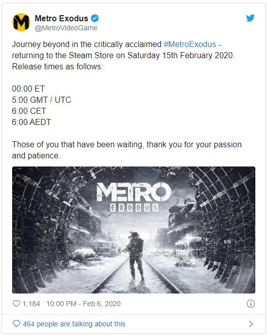 Hết độc quyền với Epic Games Store, bom tấn Metro Exodus chính thức có mặt trên Steam - Ảnh 1.