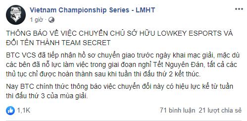 Chính thức: Lowkey Esports đổi tên thành Team Secret - Ảnh 1.