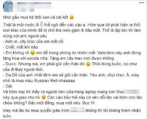 Xin mua thỏi son MAC, nhận về Macbook từ người yêu dịp Valentine, cô gái khiến cộng đồng mạng phải cảm thán: Có người yêu dốt thế lại hay - Ảnh 2.