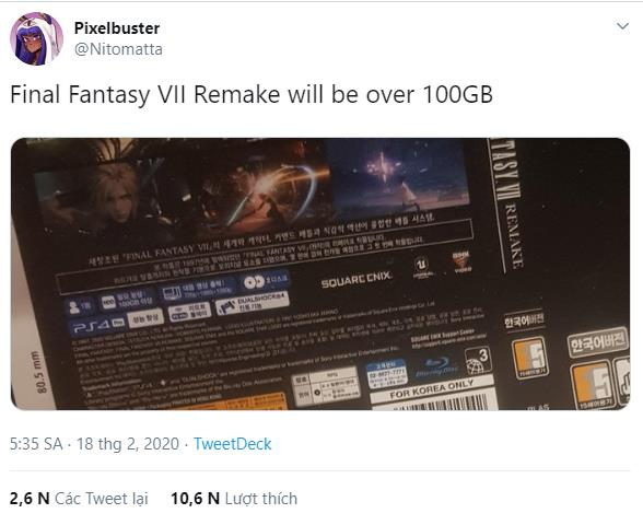 Whether it's a PS4 game, Final Fantasy VII: Remake will have stunningly sized install sizes up to over 100GB - Photo 1.