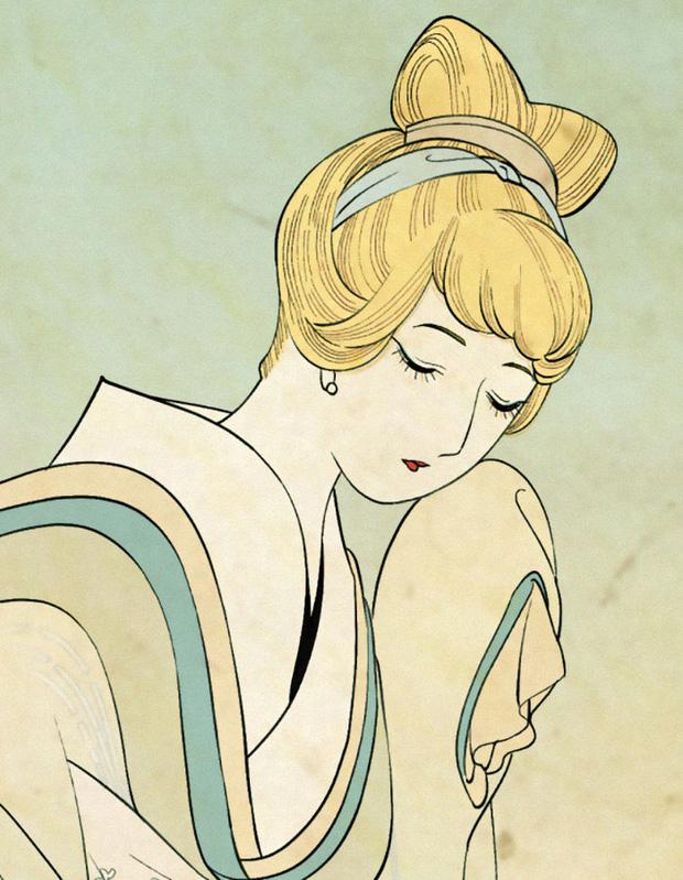 Khi các nàng công chúa Disney hiện lên dưới phong cách vẽ truyền thống Nhật Bản - Ảnh 4.