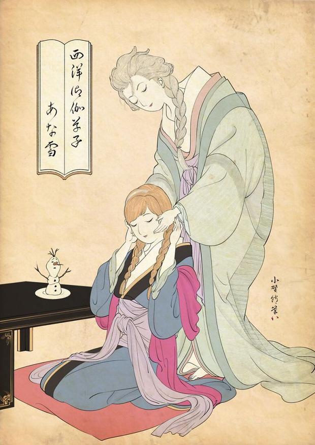 Khi các nàng công chúa Disney hiện lên dưới phong cách vẽ truyền thống Nhật Bản - Ảnh 6.