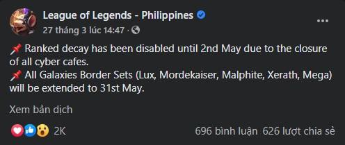 LMHT: Hỗ trợ cho game thủ trong mùa dịch, hành động nhỏ của Garena Philippines khiến dân tình ấm lòng - Ảnh 1.