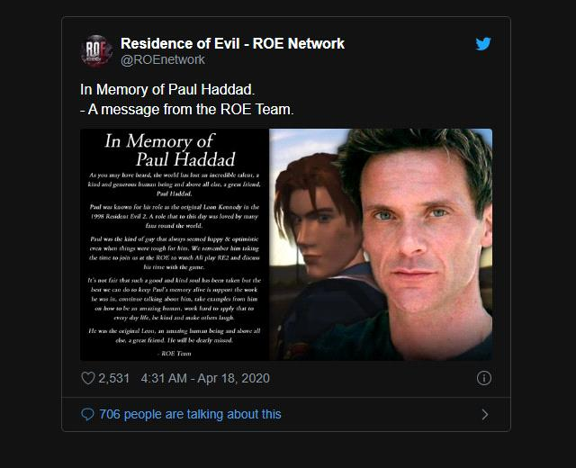 The Voice Actor Leon S Kennedy In Resident Evil 2 Suddenly Died