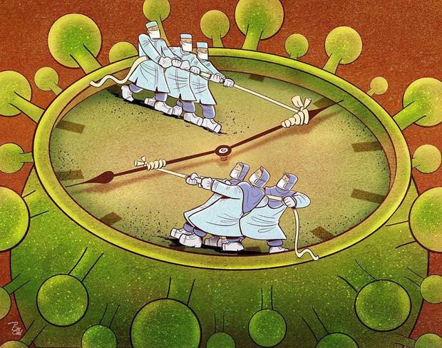 Bộ tranh ấn tượng về những người tuyến đầu chống Covid-19: Dù virus là kẻ thù vô hình nhưng cuộc chiến vẫn quá tàn nhẫn và có nhiều sự hy sinh! - Ảnh 14.