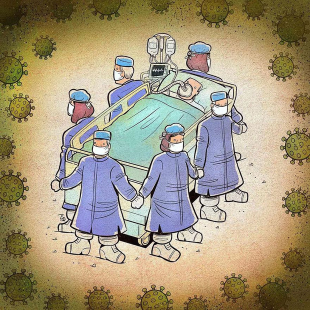 Bộ tranh ấn tượng về những người tuyến đầu chống Covid-19: Dù virus là kẻ thù vô hình nhưng cuộc chiến vẫn quá tàn nhẫn và có nhiều sự hy sinh! - Ảnh 7.