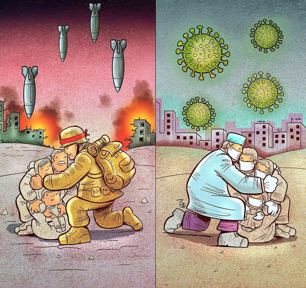 Bộ tranh ấn tượng về những người tuyến đầu chống Covid-19: Dù virus là kẻ thù vô hình nhưng cuộc chiến vẫn quá tàn nhẫn và có nhiều sự hy sinh! - Ảnh 12.