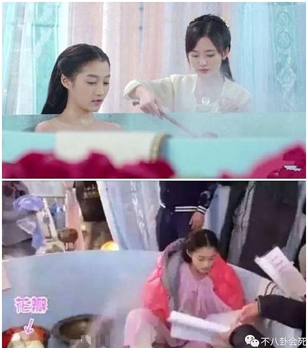 Ngã ngửa hậu trường cảnh tắm của mỹ nữ phim cổ trang, nhìn kĩ mới thấy các chị còn chẳng dùng nước, ngộ nghĩnh chưa? - Ảnh 4.