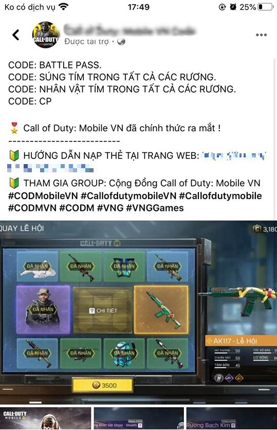 """Fanpage giả mạo Call of Duty: Mobile VN chạy hẳn quảng cáo để lừa đảo, game thủ """"tận hiến"""" và mòn mỏi đợi Ghost về - Ảnh 1."""