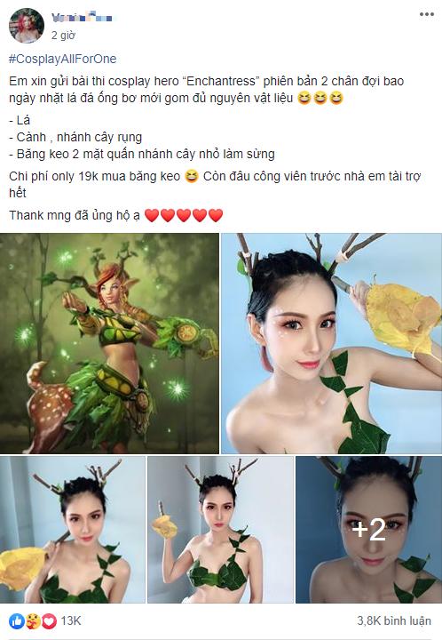 Chỉ cần lá và băng keo, nữ cosplayer gợi cảm khiến cộng đồng DOTA 2 Việt xịt máu mũi