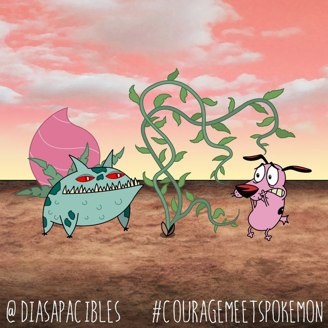 Loạt ảnh hài hước khi chú chó Courage gặp gỡ Pokémon, trông chẳng khác gì phim kinh dị - Ảnh 2.