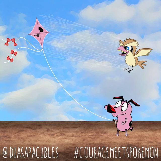 Loạt ảnh hài hước khi chú chó Courage gặp gỡ Pokémon, trông chẳng khác gì phim kinh dị - Ảnh 16.