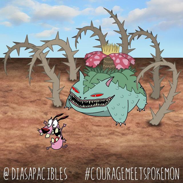 Loạt ảnh hài hước khi chú chó Courage gặp gỡ Pokémon, trông chẳng khác gì phim kinh dị - Ảnh 3.