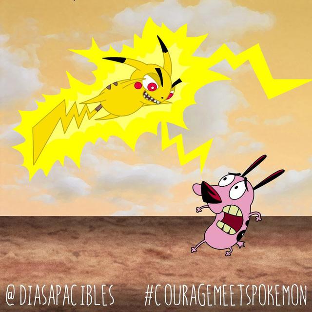 Loạt ảnh hài hước khi chú chó Courage gặp gỡ Pokémon, trông chẳng khác gì phim kinh dị - Ảnh 25.