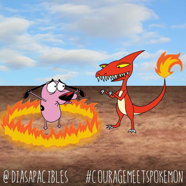 Loạt ảnh hài hước khi chú chó Courage gặp gỡ Pokémon, trông chẳng khác gì phim kinh dị - Ảnh 5.
