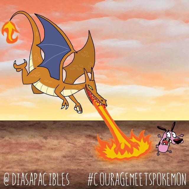 Loạt ảnh hài hước khi chú chó Courage gặp gỡ Pokémon, trông chẳng khác gì phim kinh dị - Ảnh 6.