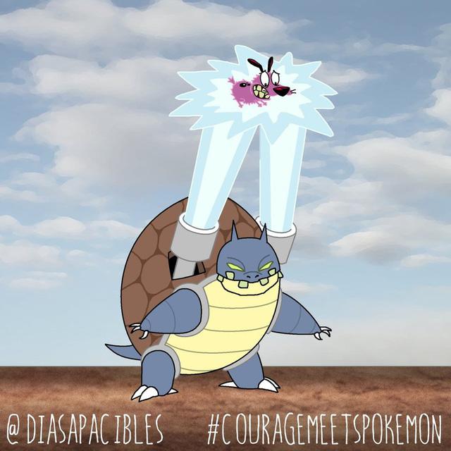Loạt ảnh hài hước khi chú chó Courage gặp gỡ Pokémon, trông chẳng khác gì phim kinh dị - Ảnh 9.