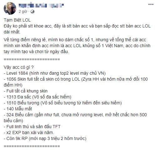 Nạp cả tỉ đồng, chủ tài khoản LMHT khủng bậc nhất Việt Nam bất ngờ tuyên bố nghỉ game vì bị mất tên ingame - Ảnh 2.
