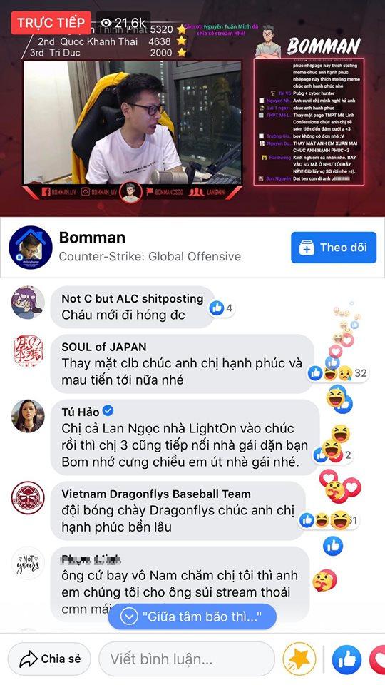 Kênh stream hóa Đại hội võ lâm, cả diễn viên Ninh Dương Lan Ngọc cũng chúc mừng đôi trẻ Bomman - Minh Nghi - Ảnh 3.