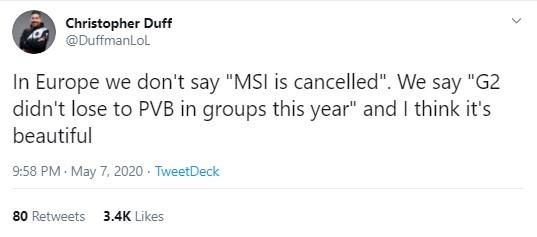Cả thế giới buồn vì MSI bị hủy, chỉ có nhà G2 là hớn hở: Thế là năm nay không phải ăn hành của VCS nữa rồi - Ảnh 1.