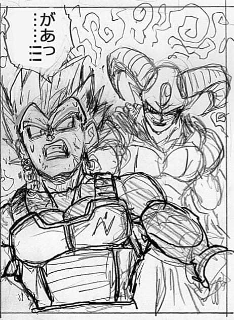 Hé lộ bản phác thảo Dragon Ball Super chap 62: Trai đẹp Moro bón hành cho Vegeta, Hoàng tử saiyan không còn gáy được nữa - Ảnh 1.