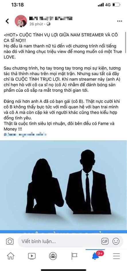 Một fanpage về showbiz bóng gió ám chỉ Cara - Noway là cuộc tình vụ lợi, quản lý SBTC gay gắt đáp trả - Ảnh 1.