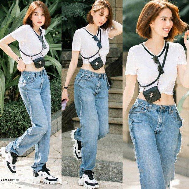4 mẫu quần jeans quái dị của Ngọc Trinh: Cái rách toang hoác, cái vá chằng chịt, 1 trong số đó bị chê tơi tả - Ảnh 4.