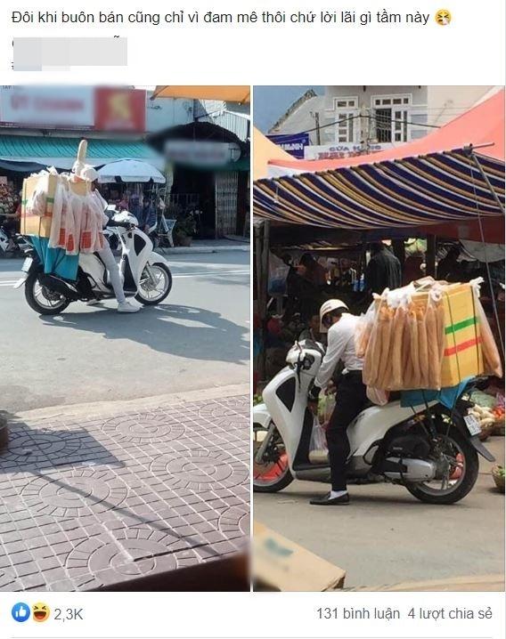 Ăn mặc bảnh bao, đi SH bán bánh mỳ dạo ngoài chợ, nam thanh niên khiến cộng đồng mạng ngán ngẩm Lại chủ tịch giả vờ à - Ảnh 1.