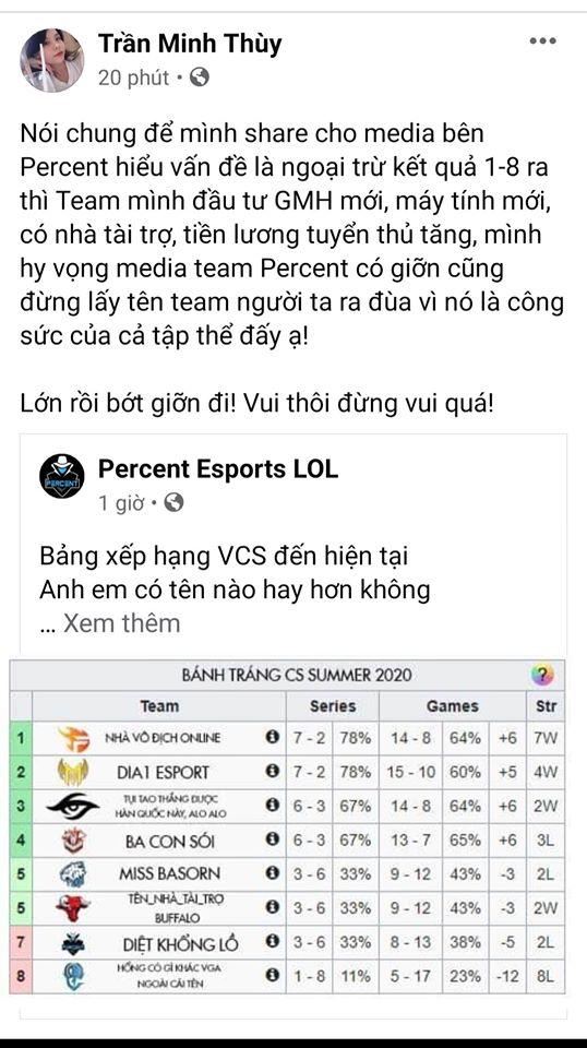 Quản lý Percent Esports lên tiếng xin lỗi Optimus sau bài đăng cà khịa chế tên OPG và các đội VCS - Ảnh 2.