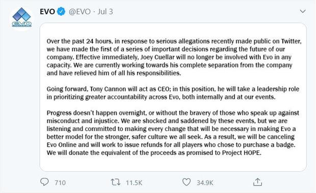 Dính cáo buộc ấu dâm, giám đốc EVO 2020 bị sa thải, giải đấu game đối kháng lớn nhất thế giới bị huỷ bỏ - Ảnh 1.