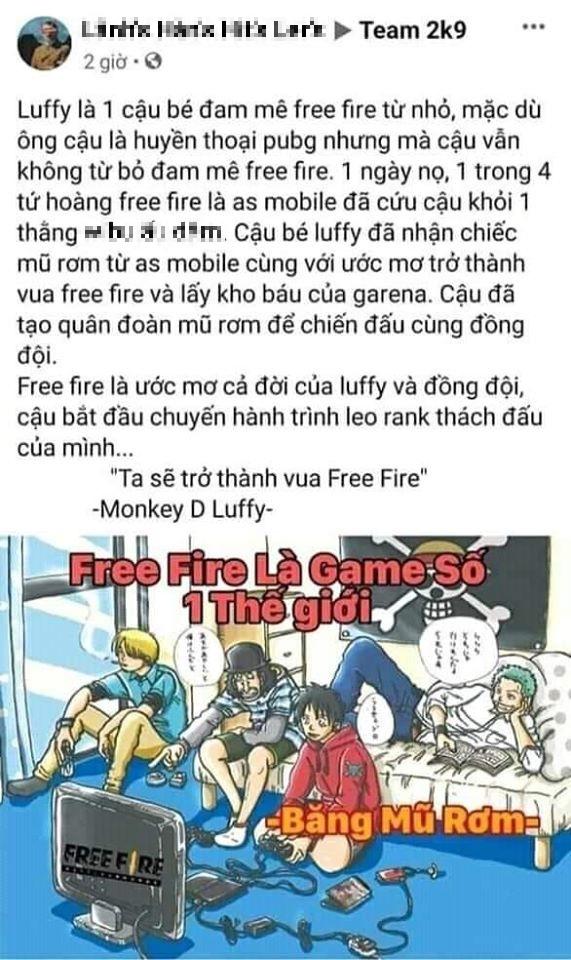 Game thủ Lửa Chùa dựng chuyện Free Fire là ước mơ cả đời của Luffy One Piece, thậm chí mang ơn As Mobile - Ảnh 3.