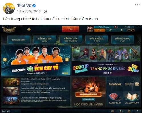 """Thái Vũ từng hứng khởi khoe thành tích về việc bộ phim hài ngắn về LMHT mang tên """"Đại Chiến Ếch Cay Tê"""" của FAP TV được giới thiệu trên client của game"""