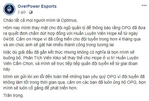 Thay tướng giữa dòng, Optimus lên nắm quyền HLV nhưng OPG vẫn 'no hope' theo đúng nghĩa đen