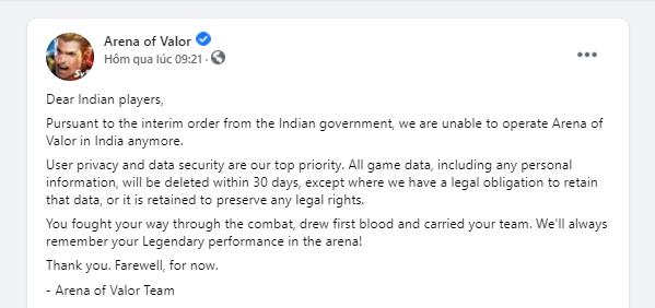 Server Liên Quân Mobile Ấn Độ xóa sạch dữ liệu tài khoản của game thủ - Ảnh 2.