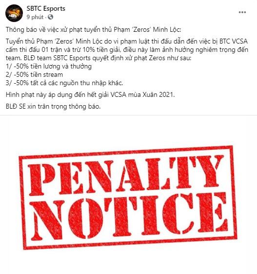 Tiền mất tật mang, đến lượt SBTC Esports công bố án phạt nội bộ cực nặng về hành vi vạ miệng của Zeros - Ảnh 1.