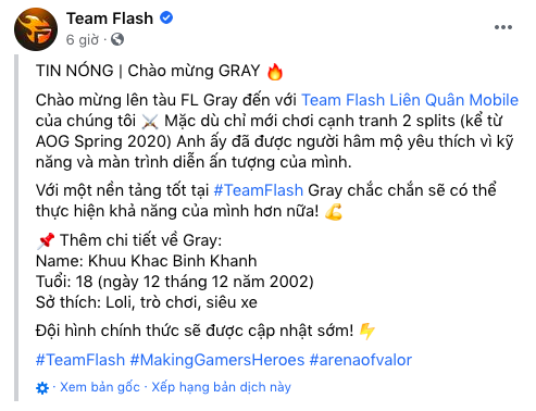 """Giới thiệu """"tân binh"""" mới, Team Flash khiến cộng đồng xôn xao vì sở thích """"lạ của tuyển thủ này - Ảnh 2."""