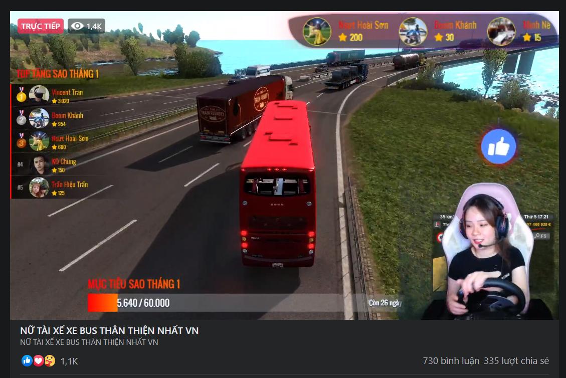 Chỉ ngồi chơi game giả lập lái xe, nữ streamer Việt thu hút hàng trăm nghìn  lượt xem