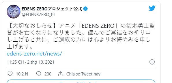 Đạo diễn anime Edens Zero đột ngột qua đời, studio sản xuất đau đầu tìm người thay thế - Ảnh 1.