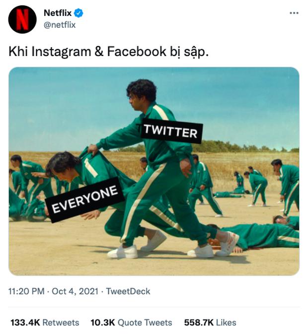 Squid Game bất ngờ trở thành hình ảnh ghê nhất ngày vì Facebook sập: Nhiều hãng lớn, netizen đổ xô vào cà khịa căng đét! - Ảnh 2.