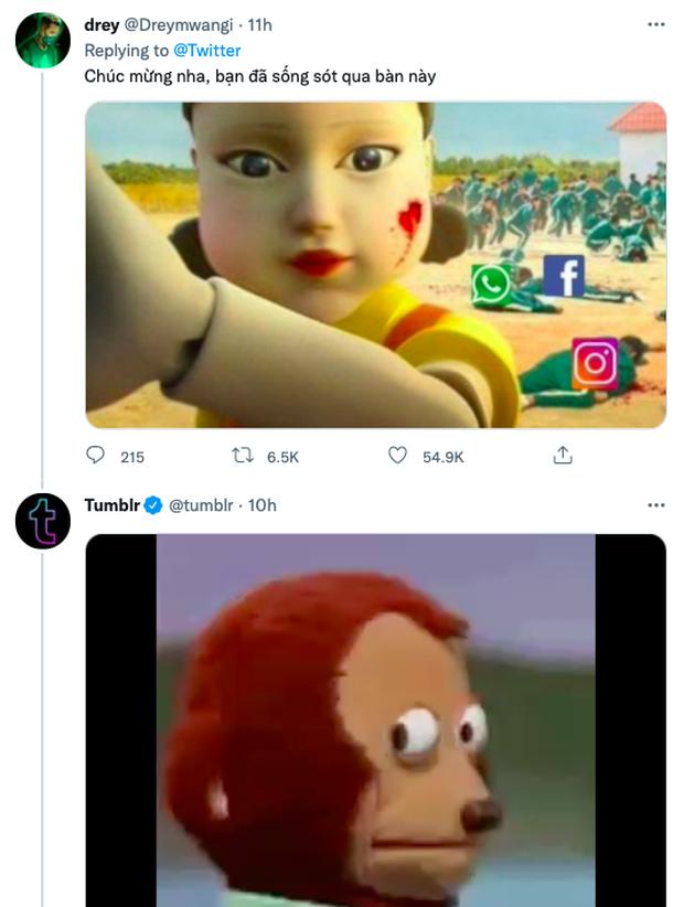 Squid Game bất ngờ trở thành hình ảnh ghê nhất ngày vì Facebook sập: Nhiều hãng lớn, netizen đổ xô vào cà khịa căng đét! - Ảnh 5.